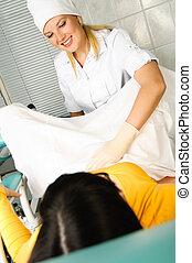 ginecólogo, Examinar, paciente
