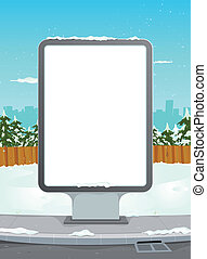White Billboard On Winter Urban Background - Illustration of...