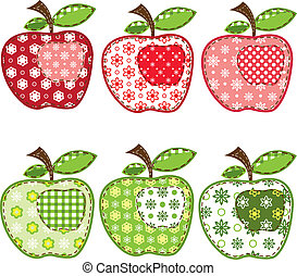 set of patchwork apples over white