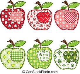 セット, パッチワーク, りんご