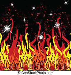 fire seamless pattern, abstract horizontal texture; vector...