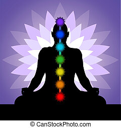 Yogi with chakras - Silhouette of man in lotus position....