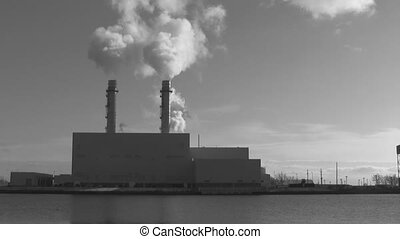 Generating station. Timelapse. - Timelapse shot of Portlands...