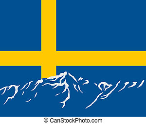 Mountains with flag of Sweden
