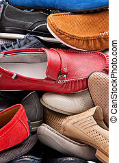 Various male shoes background - Background of various male...