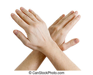 male hands showing sign of stop - Image of male hands...