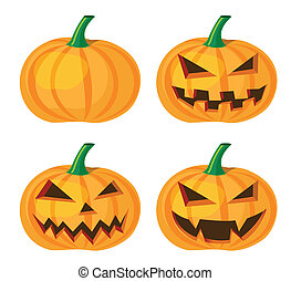halloween pumpkin with evil grinning, vector format