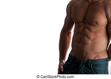 bodybuilder - Muscular male torso of bodybuilder at jeans on...