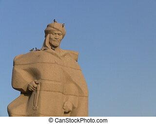Sandstone statue of Al Farabi in Turkistan, Kazakhstan