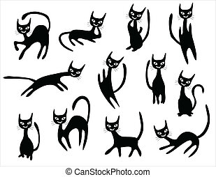 cat cartoons set, black cats with different postures.