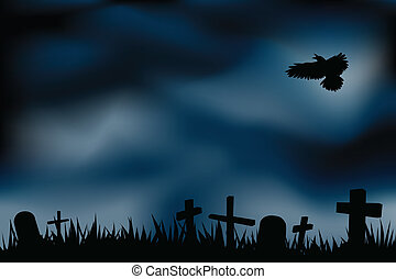 cemetery illustrations - graveyard background, with ghosts...