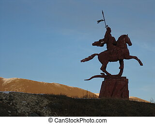 Statue of warrior in Kyrgyzstan - Statue of a triumphant...