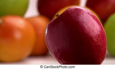 Red Apple, rotate, closeup