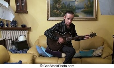 guitarist - musician plays the guitar at home