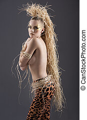 the jungle girl - beautiful and sexy girl with raffia hair...