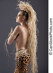 woman from the amazon - beautiful and sexy woman with raffia...