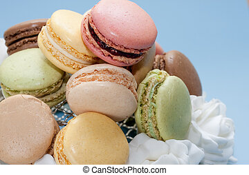 Macaroons - Colourful biscuits on a plate