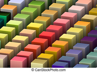 dimetric view 3d render of beveled cubes in multiple bright colors