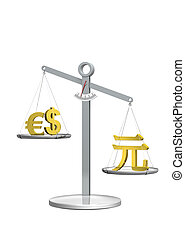 currencies compared - Conceptual rendering concerning the...