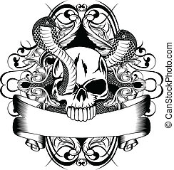 skull and two snake - Vector illustration skull and two...