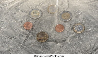 euro coins in winter ice