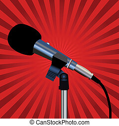 Microphone and red rays - Microphone with a cord on a red...