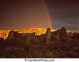 Magic Moment - rainbow over Pueblo de Arroyo. A lucky shot,...