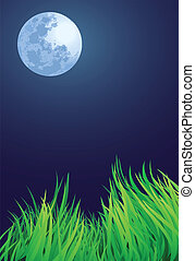 full moon night illustrations, countryside setting.
