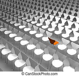 Different - Metaphorical rendering showing a lot of chairs...