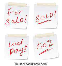 Sale stickers - handwritten message related to sale on paper...
