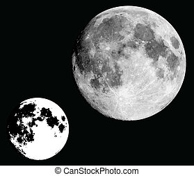 full moon - realistic moon in black and white.