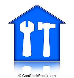 House Renovation - House with tools icon isolated over white...