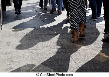 Shadows of People Walking - Shadows and feet of people...