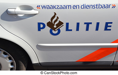 Door of a police car - Door of a police car in Delft, The...