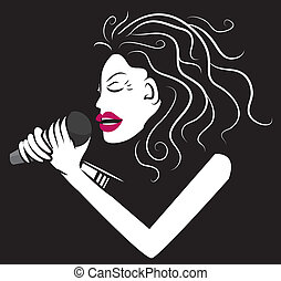 Woman Singer Black and White