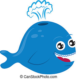 Cartoon Whale - Cartoon whale smiling and spurting water