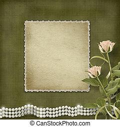 vendimia, viejo, Postal, felicitación, rosas, perlas