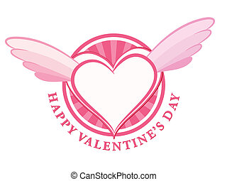 HAPPY Valentine day stamp with heart and wings. Vector...