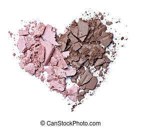 hearts shape love cream face powder - close up of face cream...