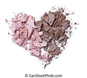 hearts shape love cream face powder - close up of face cream...