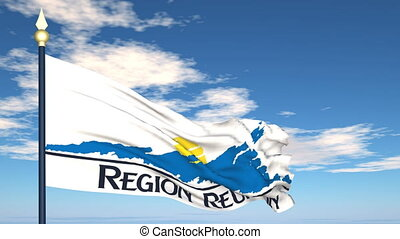 Flag Of Reunion on the background of the sky and flying...