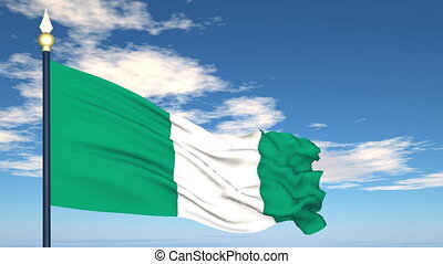 Flag Of Nigeria on the background of the sky and flying...