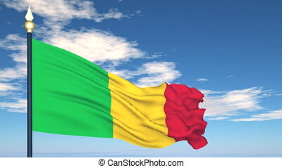 Flag Of Mali on the background of the sky and flying clouds.