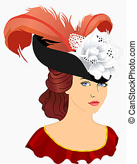 Portrait of young lady in hat with plumage Vector...