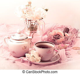Tea Party in pink - still-life with tea and flowers