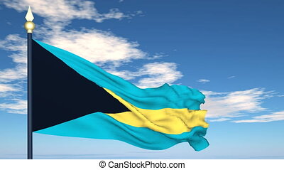 Flag Of Bahamas on the background of the sky and flying...