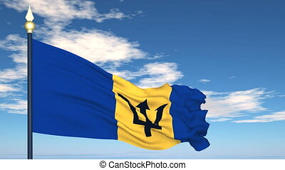 Flag Of Barbados on the background of the sky and flying...