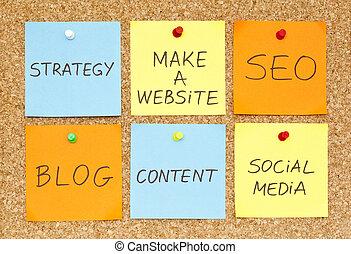 Make a Website - Six sticky notes on an office cork bulletin...