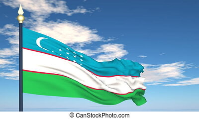 Flag Of Uzbekistan on the background of the sky and flying...