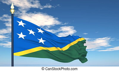 Flag Of Solomon Islands on the background of the sky and...